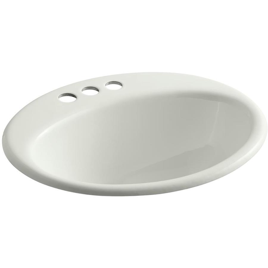 Shop KOHLER Farminton Dune Cast Iron Drop-in Oval Bathroom Sink with ...