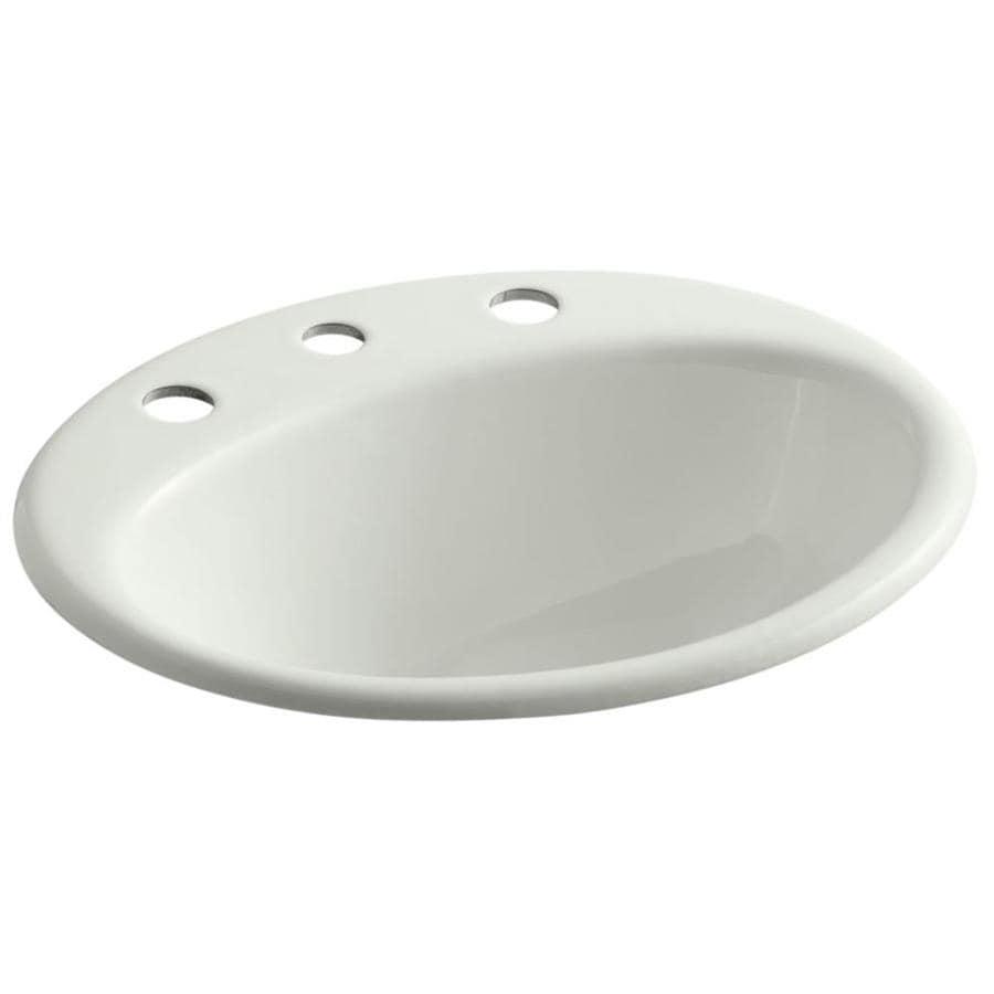 KOHLER Farminton Dune Cast Iron Drop-in Oval Bathroom Sink with Overflow