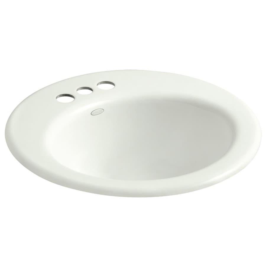 KOHLER Radiant Dune Cast Iron Drop-in Elliptical Bathroom Sink with Overflow