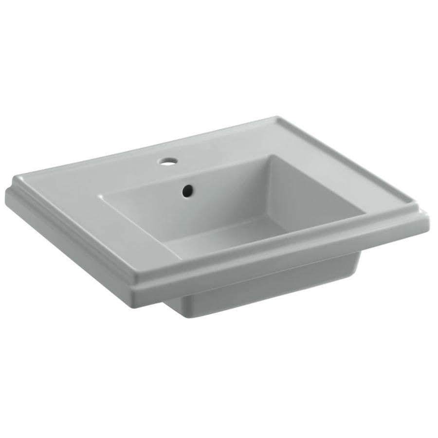 KOHLER Treshman 24-in L x 19.5-in W Ice Grey Fire Clay Square Pedestal Sink Top