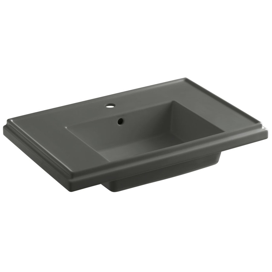 KOHLER Treshman 24-in L x 19.5-in W Thunder Grey Fire Clay Square Pedestal Sink Top