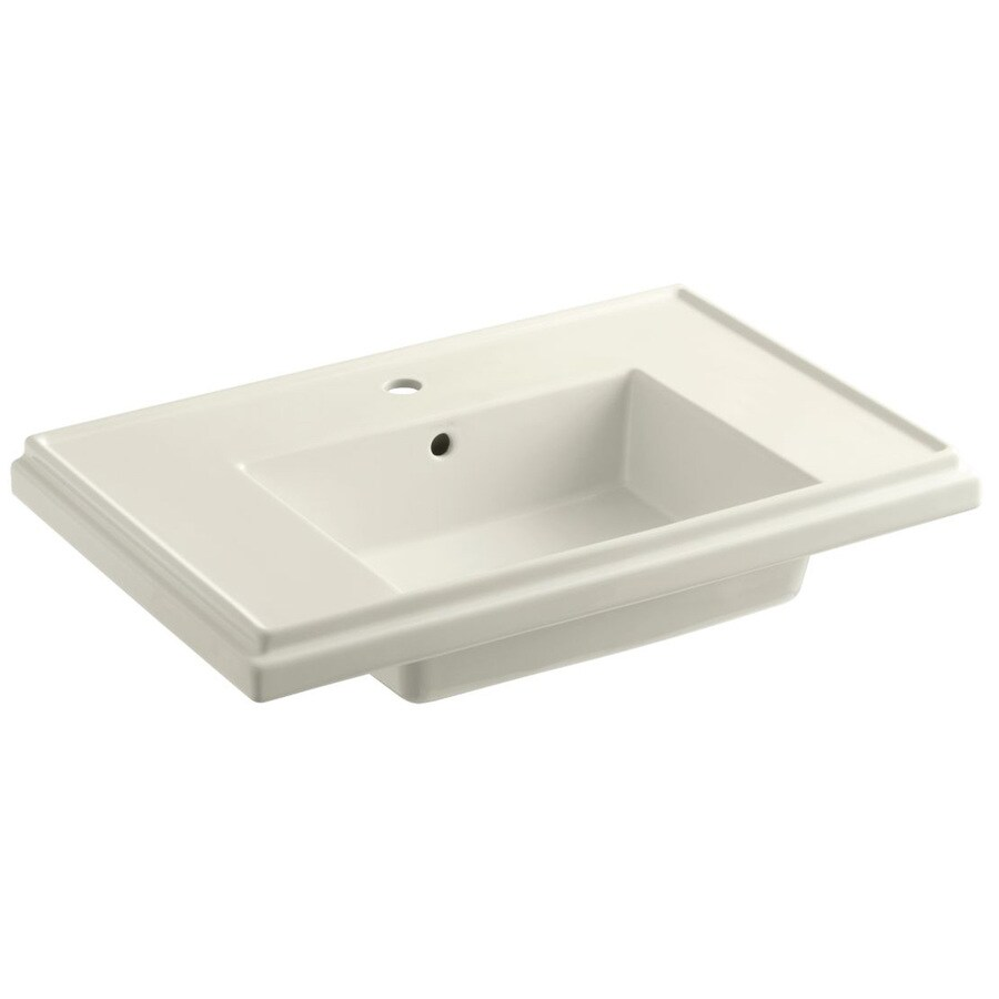 KOHLER Treshman 24-in L x 19.5-in W Biscuit Fire Clay Square Pedestal Sink Top