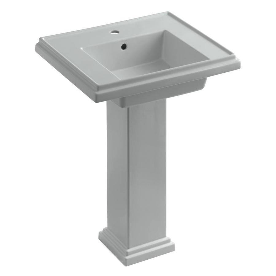KOHLER Tresham 34.625-in H Ice Grey Fire Clay Pedestal Sink