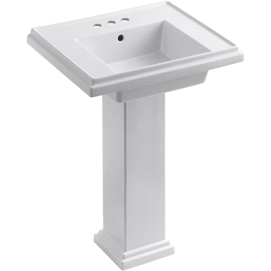 KOHLER Tresham 34.625-in H White Fire Clay Pedestal Sink