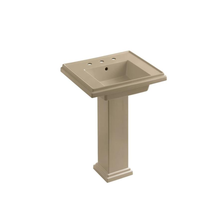 KOHLER Tresham 34.625-in H Mexican Sand Fire Clay Pedestal Sink