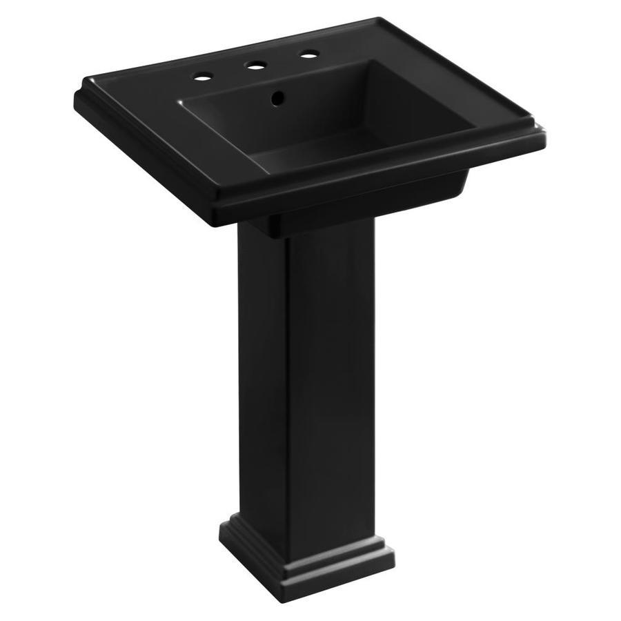 KOHLER Tresham 34.625-in H Black Black Fire Clay Pedestal Sink