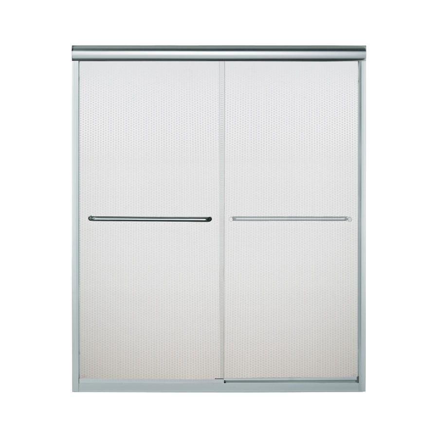 Sterling Finesse 54.625-in to 59.625-in W x 70.0625-in H Silver Sliding Shower Door