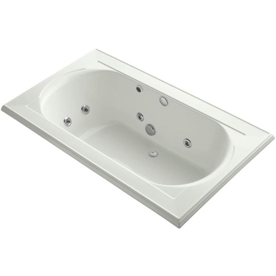 KOHLER Memoirs 2-Person Dune Acrylic Oval In Rectangle Drop-in Whirlpool Tub (Common: 42-in x 72-in; Actual: 22-in x 42-in x 72-in)