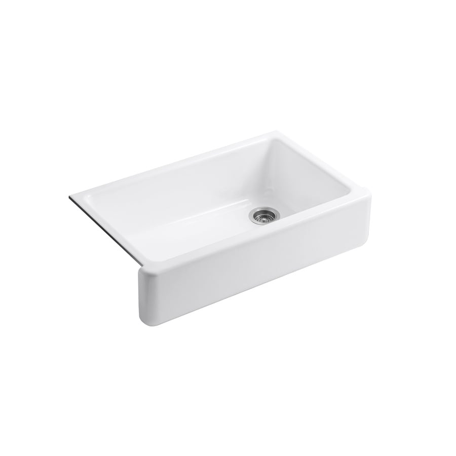 KOHLER Whitehaven 21.56-in x 35.68-in White Single-Basin Cast Iron ...