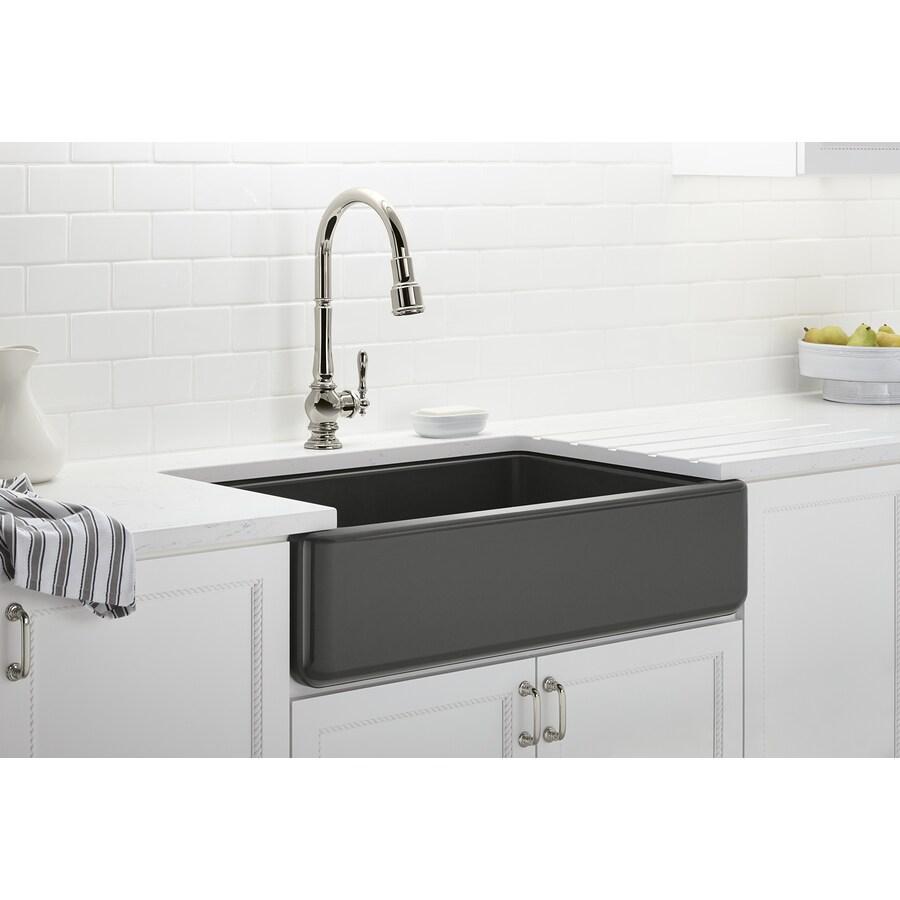 KOHLER Whitehaven 21.5625-in x 35.6875-in Thunder Grey Single-Basin Cast Iron Apron Front/Farmhouse Residential Kitchen Sink