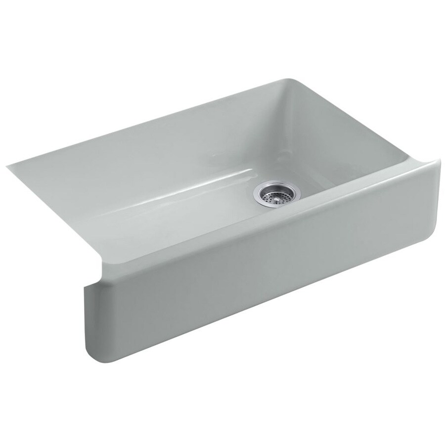 Shop kohler whitehaven x 35 5 in ice grey for Cast iron sink manufacturers