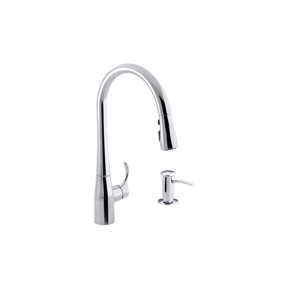 KOHLER Simplice Polished Chrome 1-Handle Pull-Down Kitchen Faucet