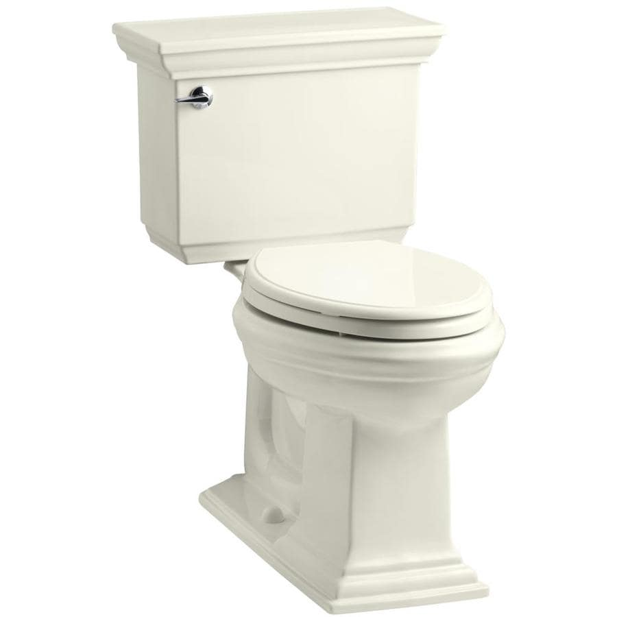KOHLER Memoirs Biscuit 1.6-GPF (6.06-LPF) 12 Rough-In Elongated 2-Piece Chair Height Toilet