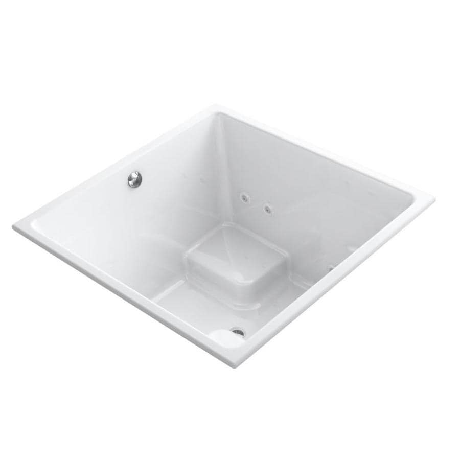 KOHLER Underscore 2-Person White Acrylic Rectangular Whirlpool Tub (Common: 48-in x 48-in; Actual: 34-in x 48-in x 48-in)