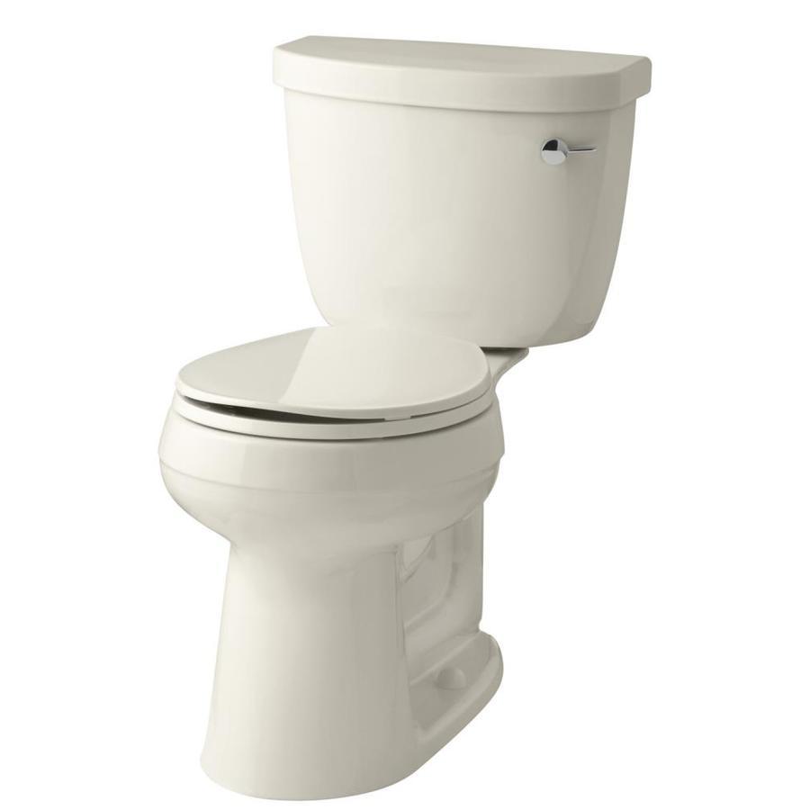 KOHLER Cimarron Almond 1.28-GPF (4.85-LPF) 12 Rough-In WaterSense Round 2-Piece Chair Height Toilet