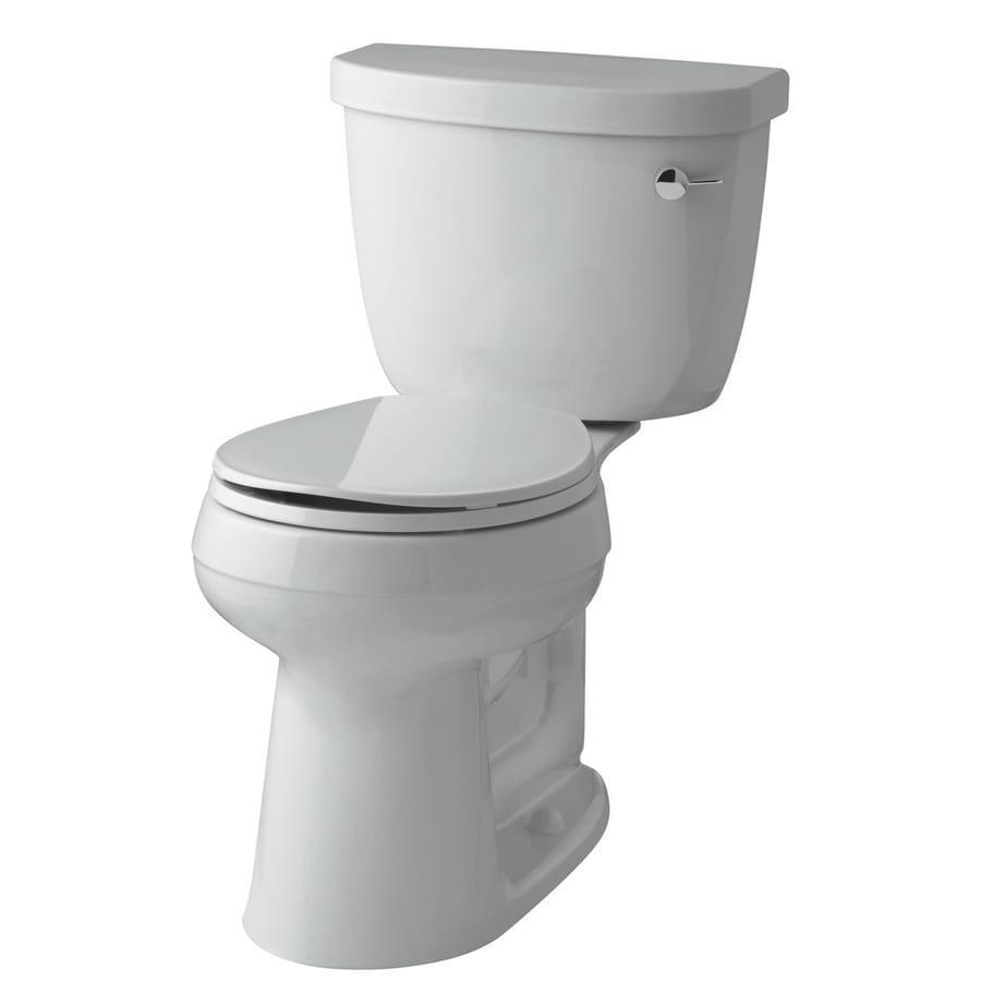 KOHLER Cimarron Ice Grey 1.28-GPF (4.85-LPF) 12-in Rough-In WaterSense Round 2-Piece Comfort Height Toilet