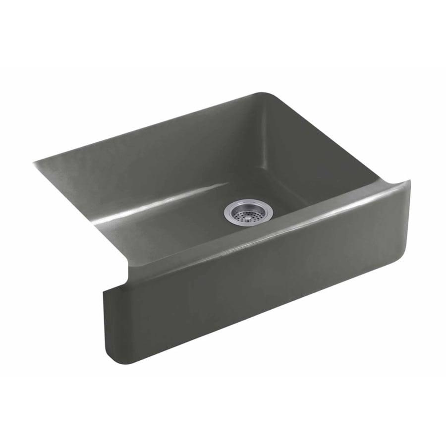 KOHLER Whitehaven 21.5625-in x 35.5-in Thunder Grey Single-Basin Cast Iron Apron Front/Farmhouse Residential Kitchen Sink