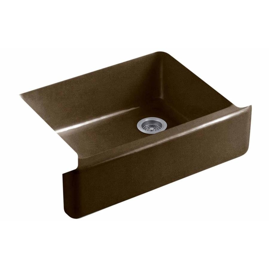 KOHLER Whitehaven 21.5625-in x 35.5-in Black and Tan Single-Basin Cast Iron Apron Front/Farmhouse Residential Kitchen Sink