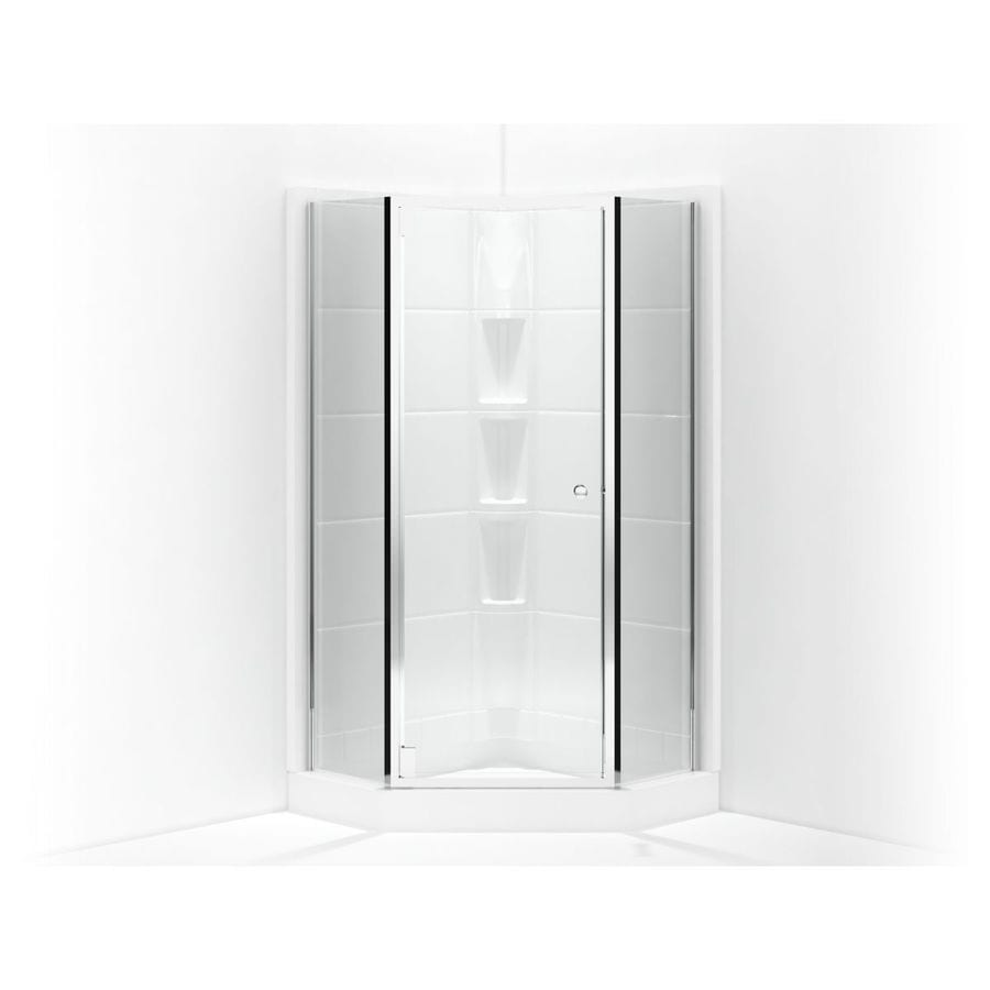 Shop Sterling Solitaire W X 72 In H Silver Neo Angle Shower Door At