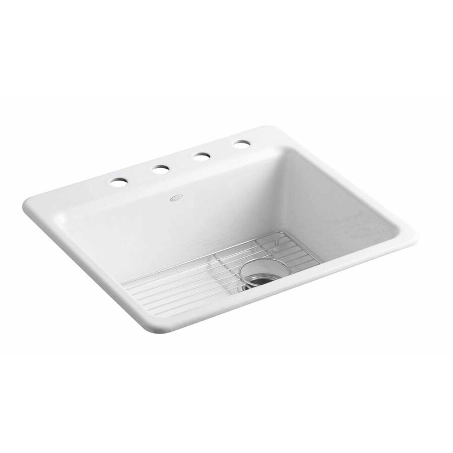 KOHLER 22-in x 25-in White Single-Basin Cast Iron Undermount 4-Hole Residential Kitchen Sink