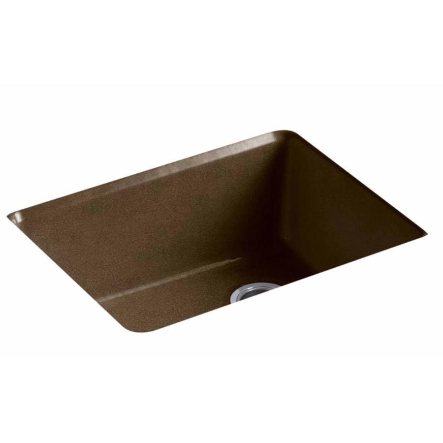KOHLER 22-in x 25-in Black N-ft Tan Single-Basin Cast Iron Undermount (Customizable)-Hole Residential Kitchen Sink