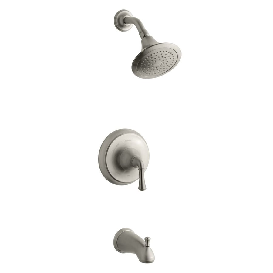 KOHLER Forte Vibrant Brushed Nickel 1-Handle WaterSense Bathtub and Shower Faucet Trim Kit with Single Function Showerhead
