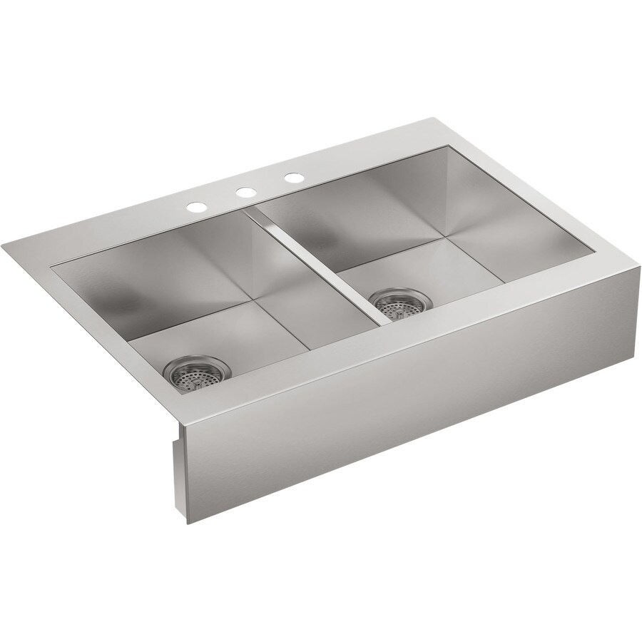 KOHLER Vault 24.3125-in x 35.75-in Stainless Steel Double-Basin Stainless Steel Apron Front/Farmhouse 3-Hole Residential Kitchen Sink