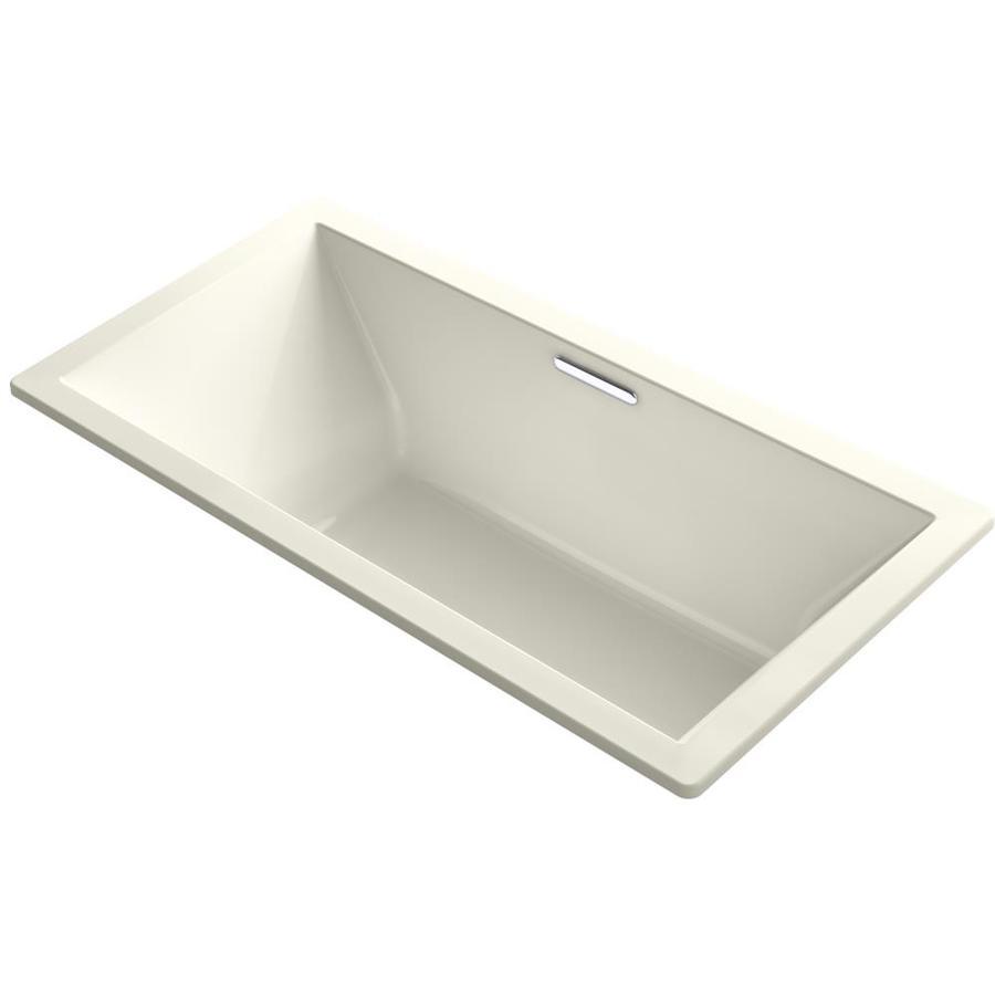 KOHLER Underscore Biscuit Acrylic Rectangular Drop-in Bathtub with Center Drain (Common: 36-in x 72-in; Actual: 23-in x 36-in x 72-in)