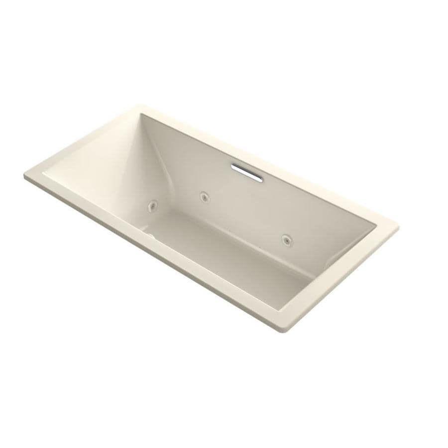 KOHLER Underscore Almond Acrylic Rectangular Whirlpool Tub (Common: 36-in x 72-in; Actual: 23-in x 36-in x 72-in)
