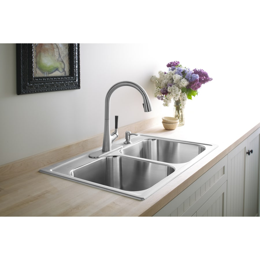 KOHLER Toccata 22-in x 33-in Stainless Steel Double-Basin Drop-In 4-Hole Commercial Kitchen Sink