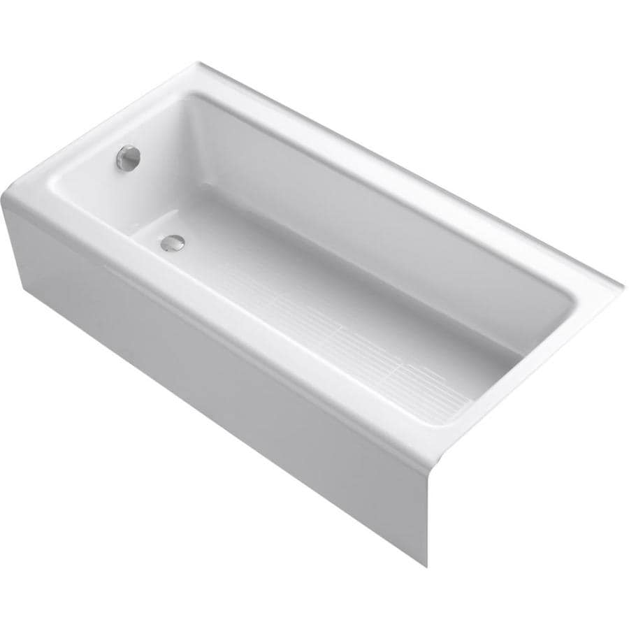 Bellwether White Cast Iron Rectangular Alcove Bathtub with Left-Hand Drain (Common: 30-in x 60-in; Actual: 14.5-in x 30.25-in x 60-in) Product Photo