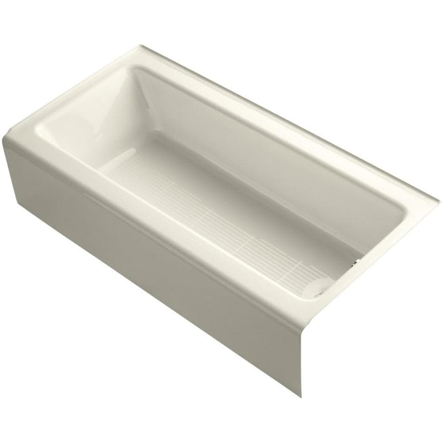 KOHLER Bellwether Almond Cast Iron Rectangular Alcove Bathtub with Right-Hand Drain (Common: 30-in x 60-in; Actual: 14.5-in x 30.25-in x 60-in)