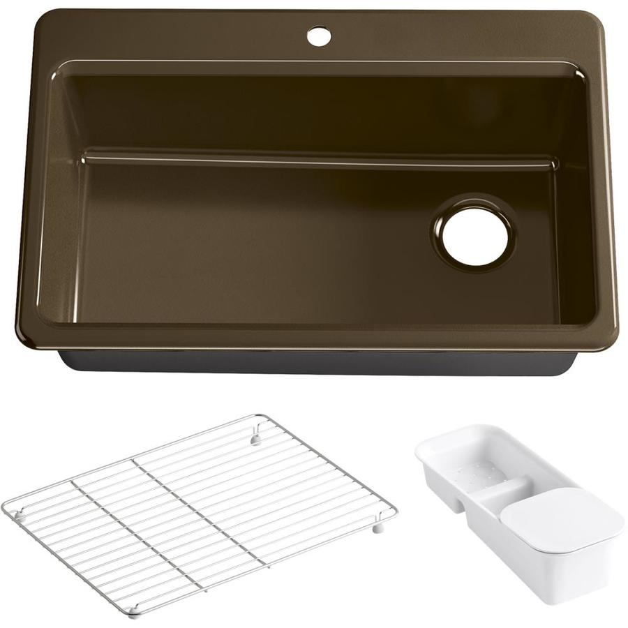 KOHLER Riverby 22-in x 33-in Black and Tan Single-Basin Cast Iron Drop-in 1-Hole Residential Kitchen Sink