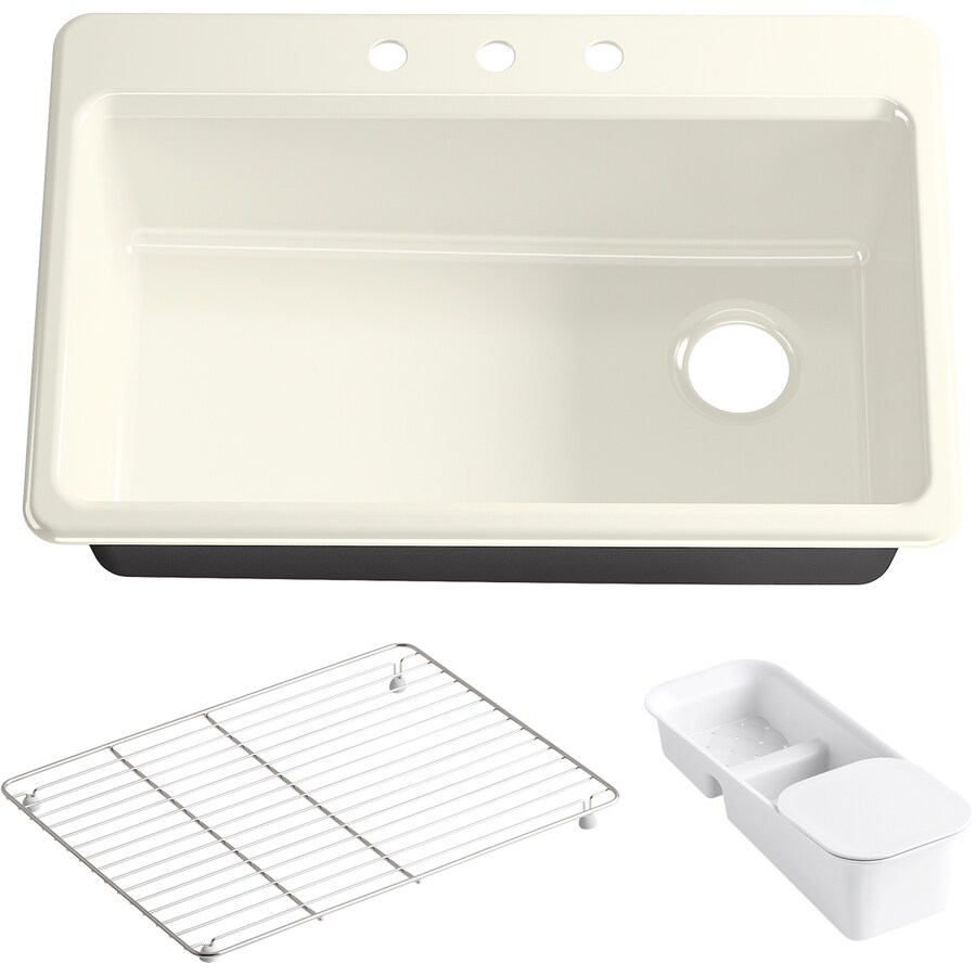 KOHLER Riverby 22-in x 33-in Biscuit Single-Basin Cast Iron Drop-in 3-Hole Residential Kitchen Sink