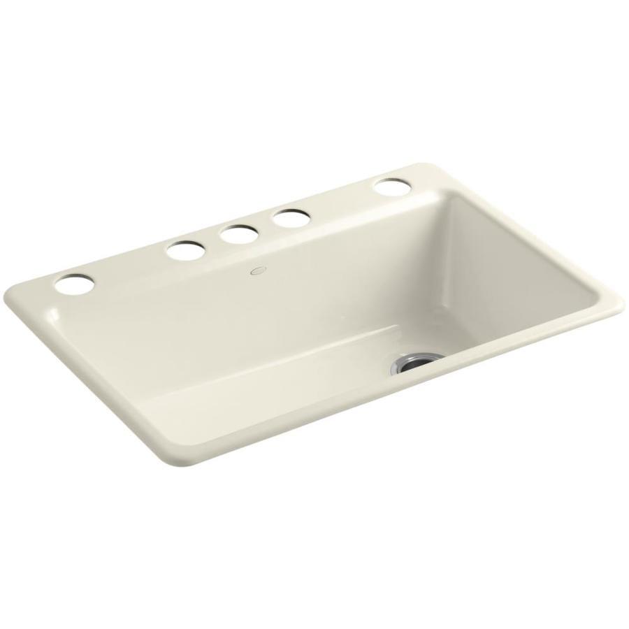 shop kohler riverby 22 in x 33 in almond single basin cast