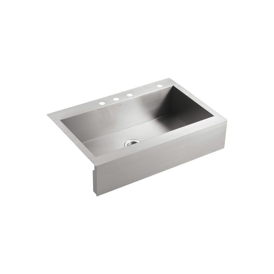 KOHLER Vault 24.3125-in x 35.75-in Stainless Steel Single-Basin Apron Front/Farmhouse 4-Hole Commercial Kitchen Sink