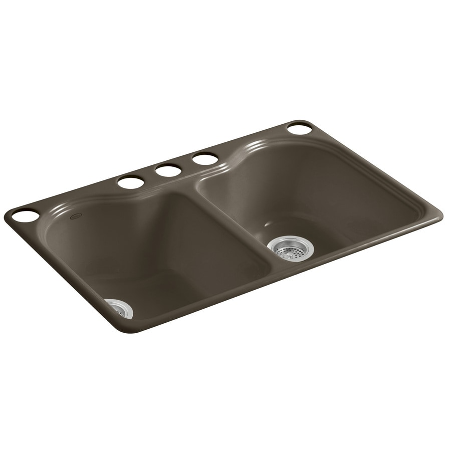 KOHLER Hartland 22-in x 33-in Suede Double-Basin Cast Iron Undermount 5-Hole Residential Kitchen Sink