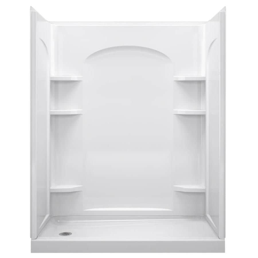 Ensemble White Vikrell Wall and Floor 4-Piece Alcove Shower Kit (Common: 30-in x 60-in; Actual: 76.5-in x 31.25-in x 60.25-in) Product Photo