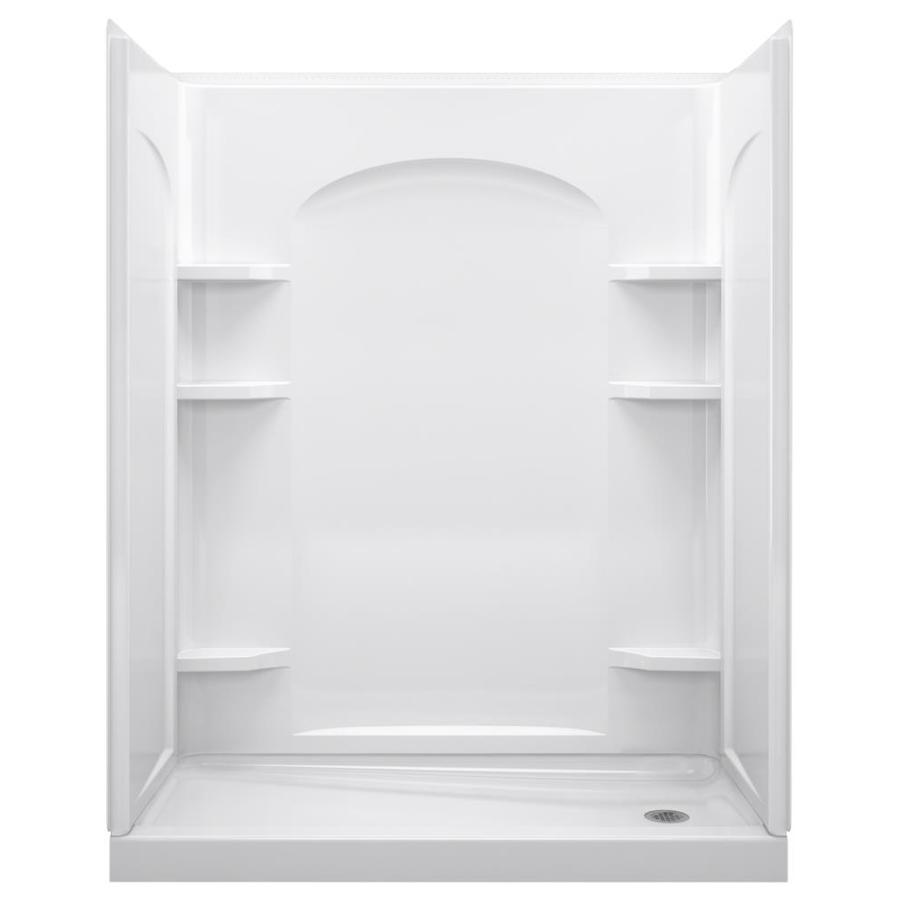 Shop Sterling Ensemble White Vikrell Wall And Floor 4 Piece Alcove Shower Kit Common 30 In X
