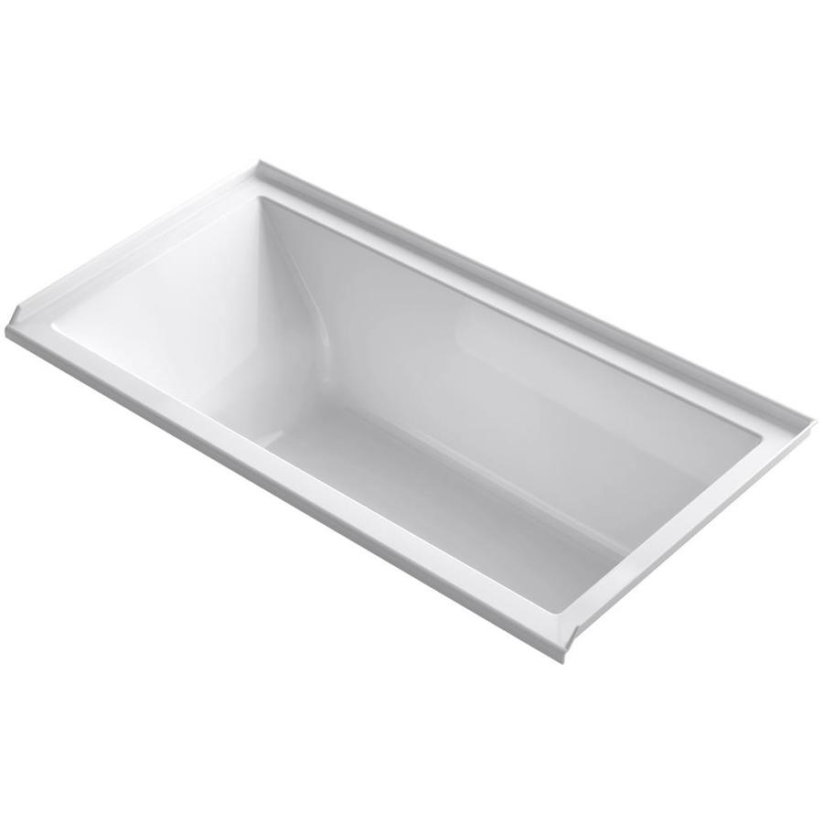 KOHLER Underscore White Acrylic Rectangular Alcove Bathtub with Right-Hand Drain (Common: 30-in x 60-in; Actual: 20.25-in x 30-in x 60-in)