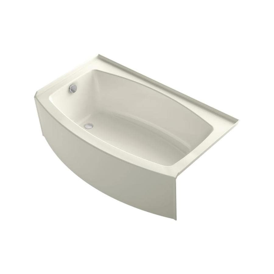 KOHLER Expanse Biscuit Acrylic Rectangular Alcove Bathtub with Reversible Drain (Common: 36-in x 60-in; Actual: 18.25-in x 36-in x 60-in)
