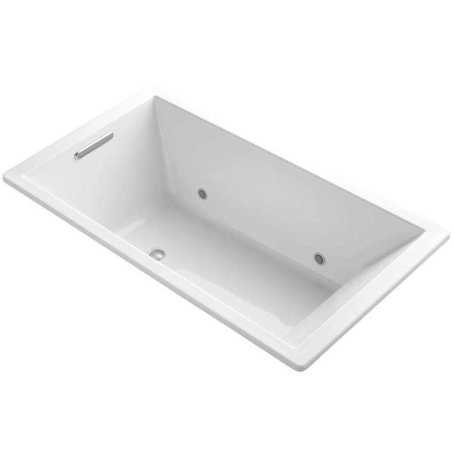 KOHLER Underscore Biscuit Acrylic Rectangular Drop-in Bathtub with Center Drain (Common: 36-in x 66-in; Actual: 22-in x 36-in x 66-in)