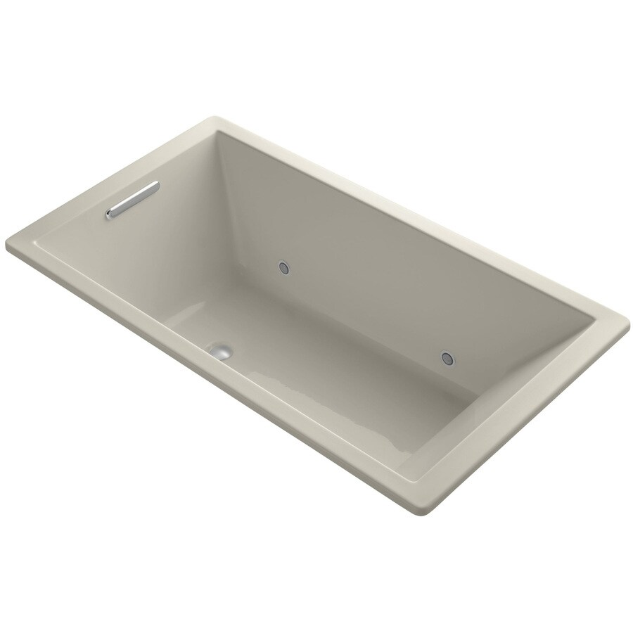 KOHLER Underscore Sandbar Acrylic Rectangular Drop-in Bathtub with Center Drain (Common: 36-in x 66-in; Actual: 22-in x 36-in x 66-in)