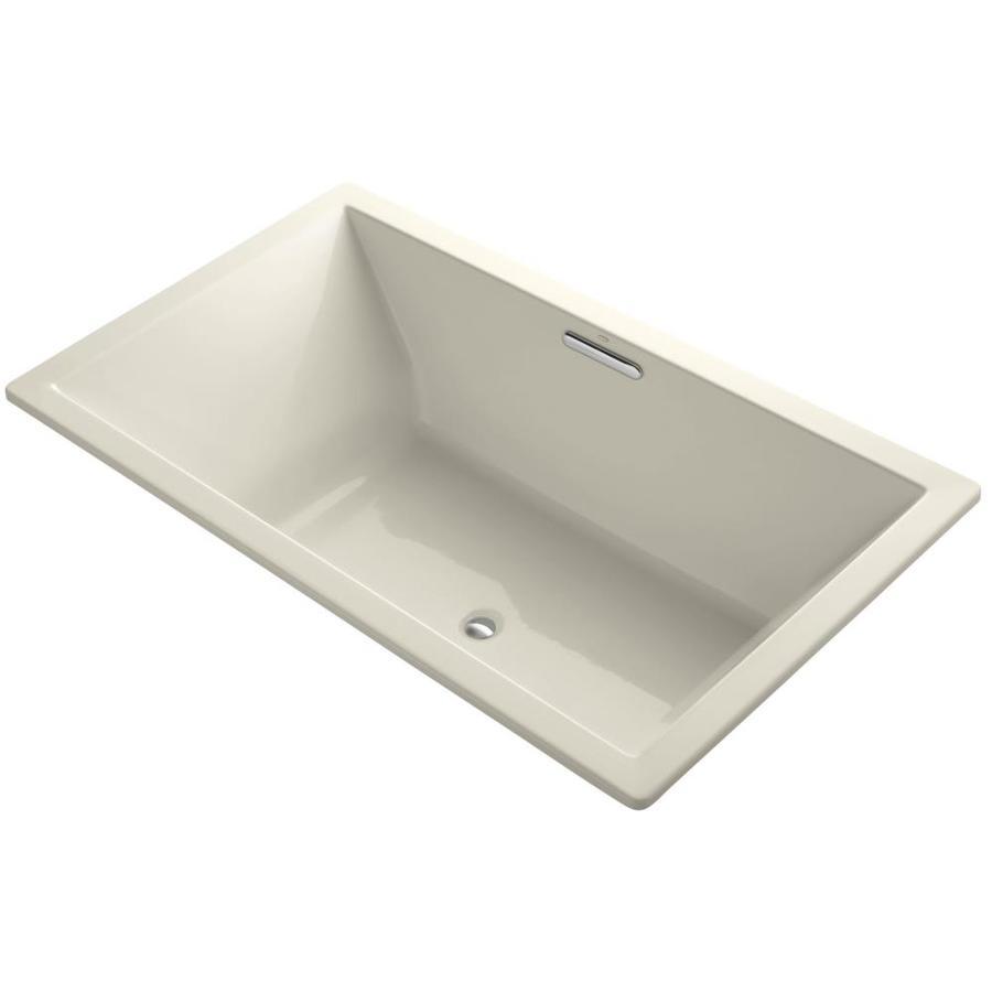 KOHLER Underscore Almond Acrylic Rectangular Drop-in Bathtub with Center Drain (Common: 42-in x 72-in; Actual: 23-in x 42-in x 72-in)