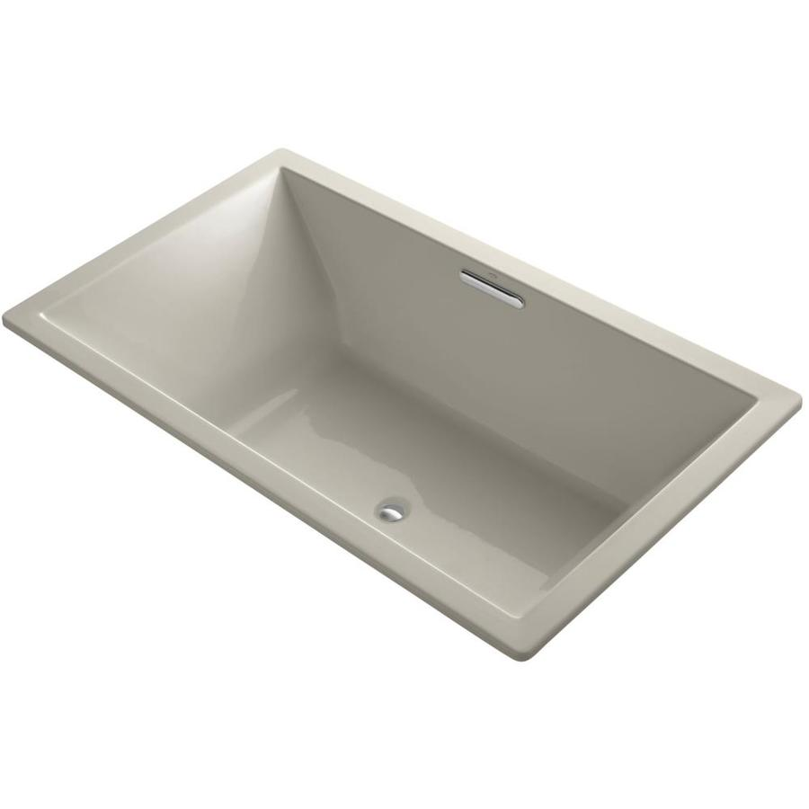 KOHLER Underscore Sandbar Acrylic Rectangular Drop-in Bathtub with Reversible Drain (Common: 42-in x 72-in; Actual: 23-in x 42-in x 72-in)