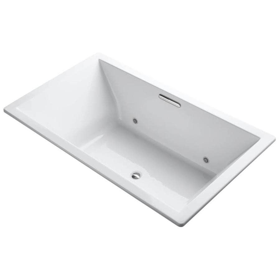 KOHLER Underscore White Acrylic Rectangular Drop-in Bathtub with Center Drain (Common: 42-in x 72-in; Actual: 23-in x 42-in x 72-in)