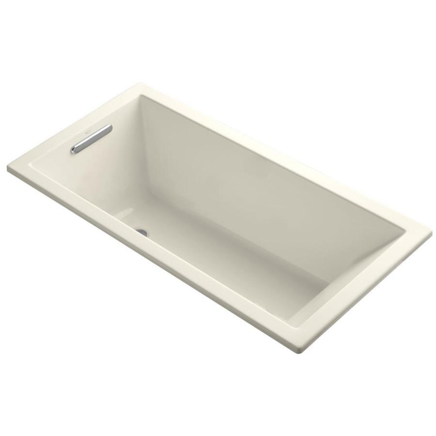 KOHLER Underscore Almond Acrylic Rectangular Drop-in Bathtub with Left-Hand Drain (Common: 30-in x 60-in; Actual: 19-in x 30-in x 60-in)