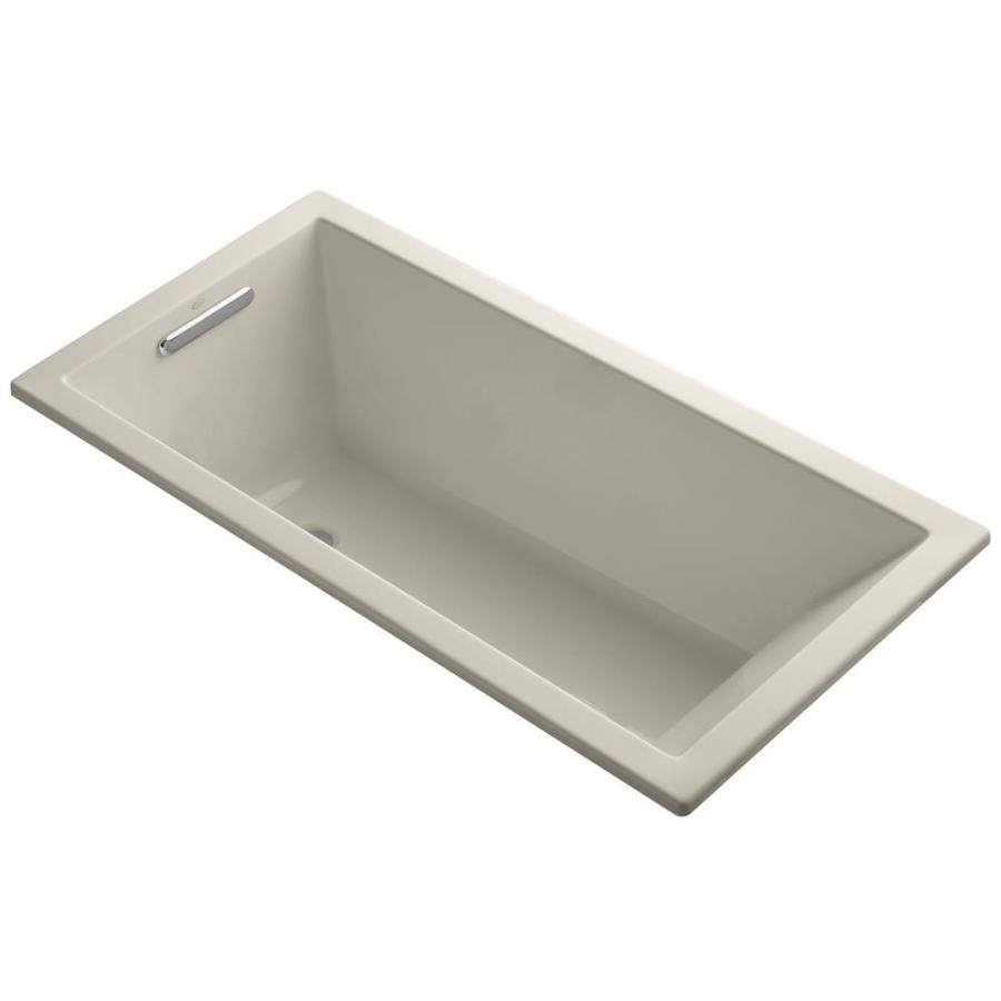 KOHLER Underscore Sandbar Acrylic Rectangular Drop-in Bathtub with Left-Hand Drain (Common: 30-in x 60-in; Actual: 19-in x 30-in x 60-in)