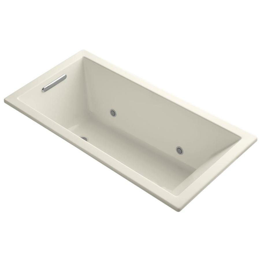 KOHLER Underscore Almond Acrylic Rectangular Alcove Bathtub with Center Drain (Common: 30-in x 60-in; Actual: 19-in x 30-in x 60-in)