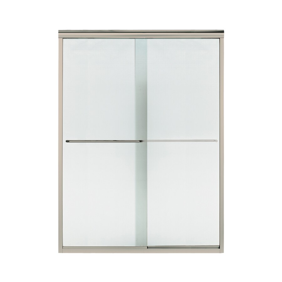 Sterling Finesse 56-in to 57.5-in W x 70.3125-in H Brushed Nickel Sliding Shower Door